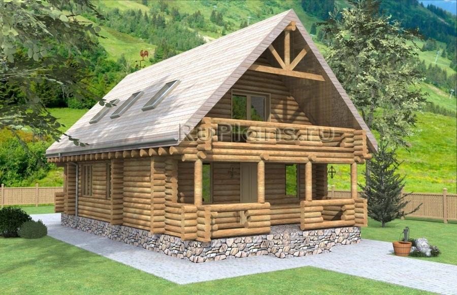Дом с мансардой, террасами и балконами ЛСП1571
