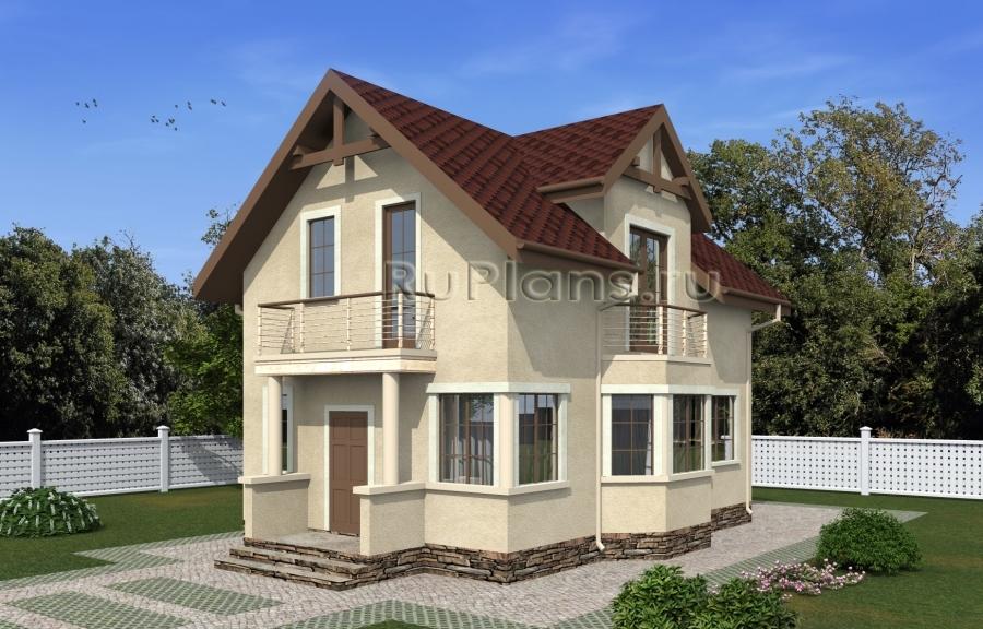 Проект одноэтажного дома с мансардой и эркером ЛСП5059