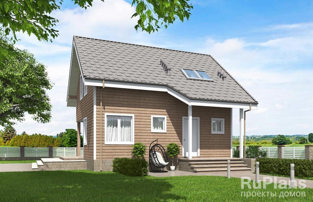 Одноэтажный дом с мансардой и террасой ЛСП5326