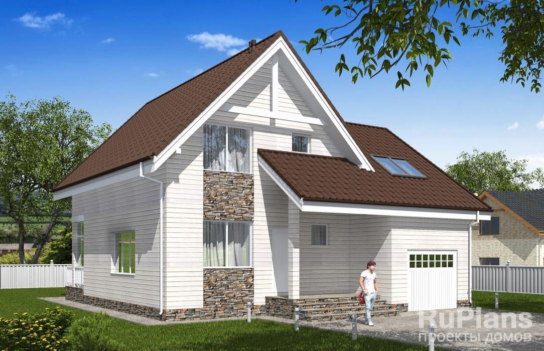 Одноэтажный дом с мансардой, гаражом, верандой ЛСП5305