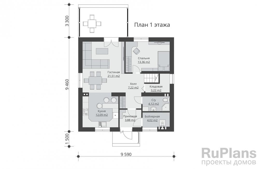 Проект одноэтажного жилого дома с мансардой и террасой ЛСП5098