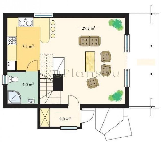 Проект одноэтажного дома с мансардой R3764