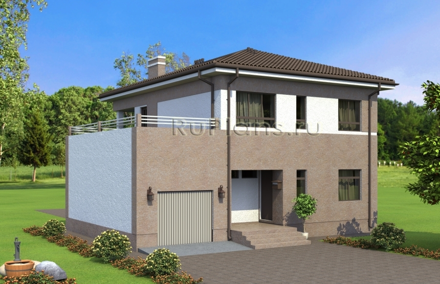 Проект двухэтажного дома с террасой над гаражом ЛСП4893