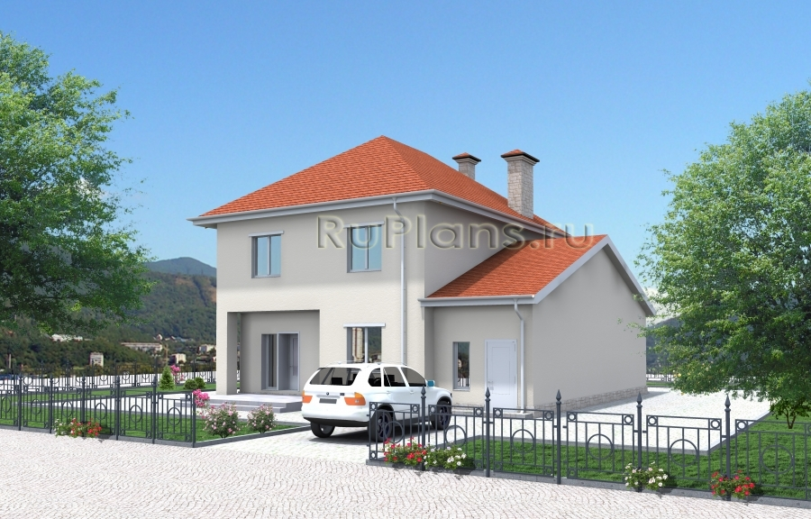 Двухэтажный дом с гаражом на 2 машины и террасой ЛСП3336