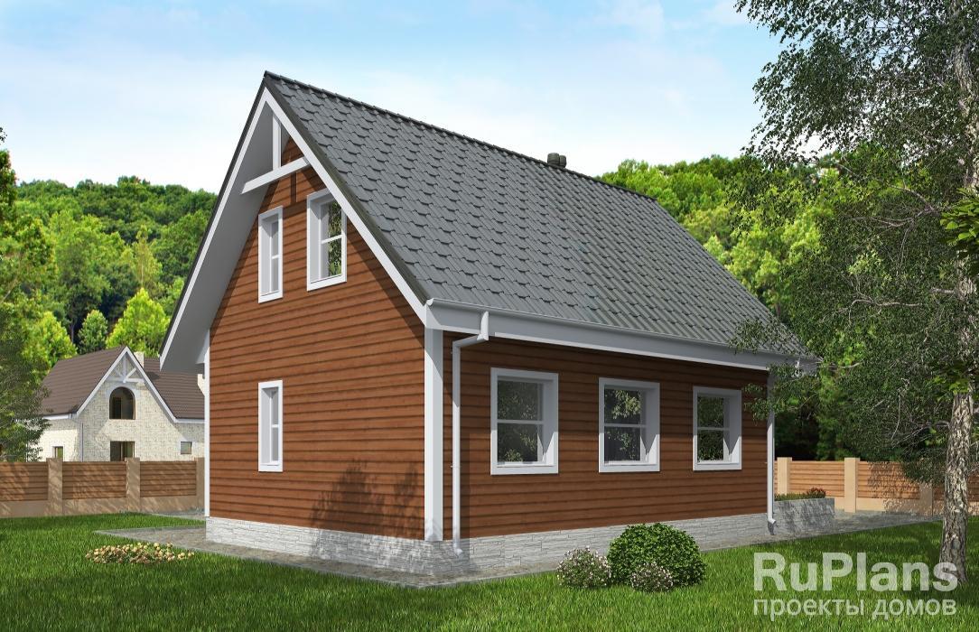 Одноэтажный дом с мансардой и террасой ЛСП5021