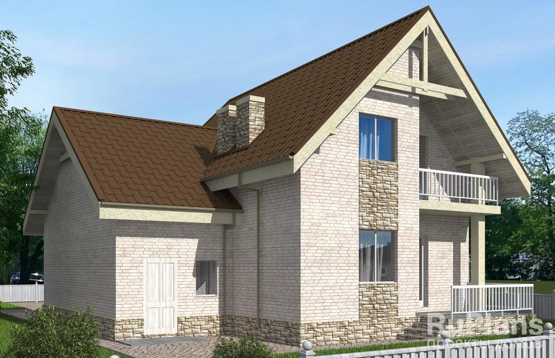 Одноэтажный дом с мансардой, террасой, балконом и гаражом ЛСП5160