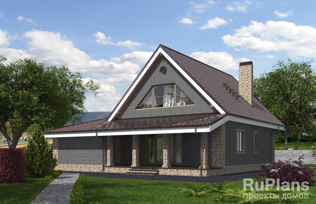 Проект одноэтажного дома с подвалом, террасой и мансардой ЛСП5333