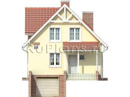 Проект одноэтажного дома с цоколем, мансардой и гаражом ЛСП374