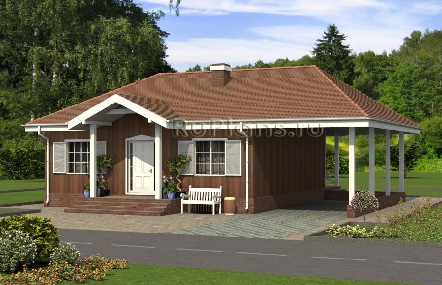 Одноэтажный дом с террасой и навесом ЛСП5034