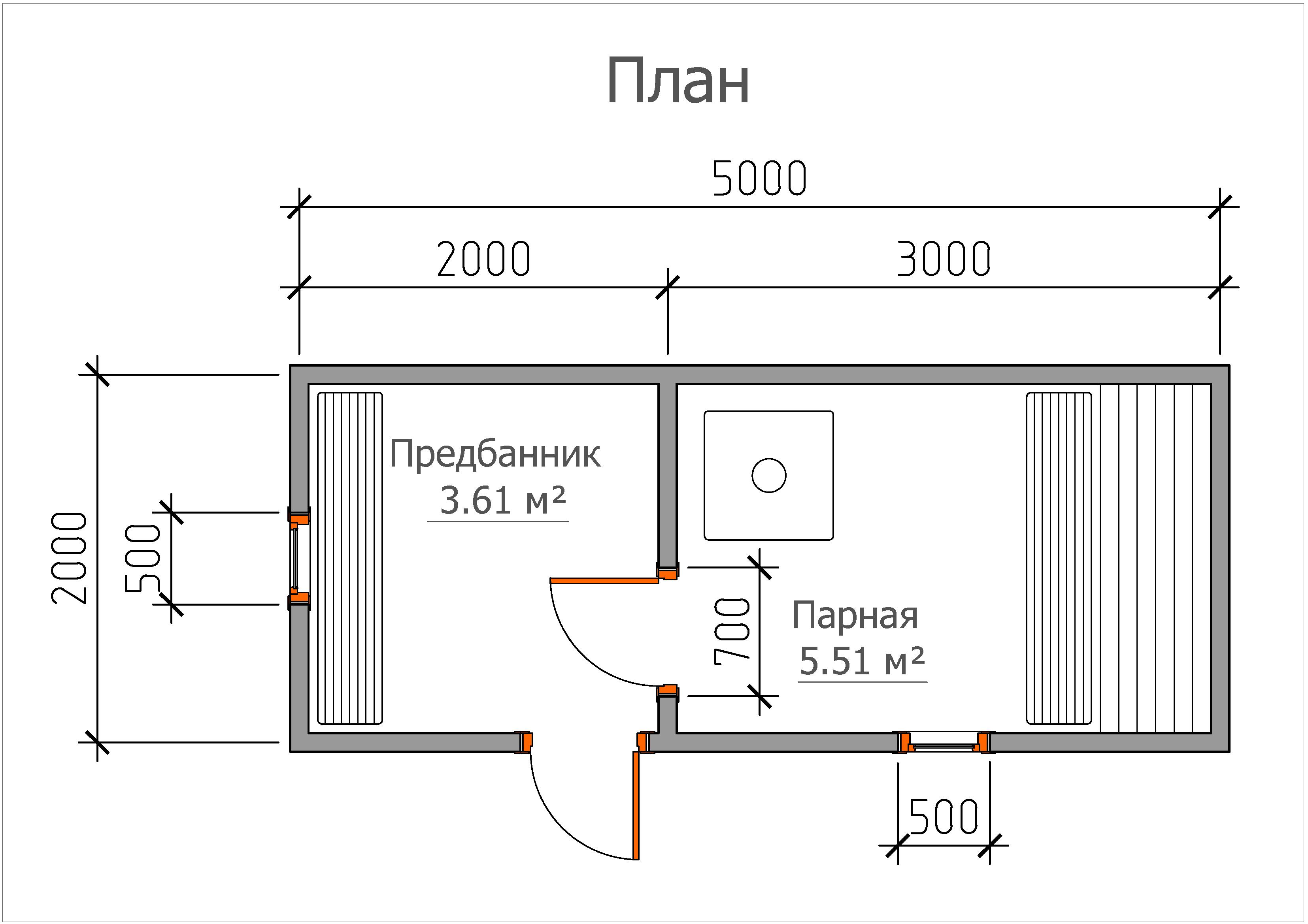 Мобильная баня «2х5»