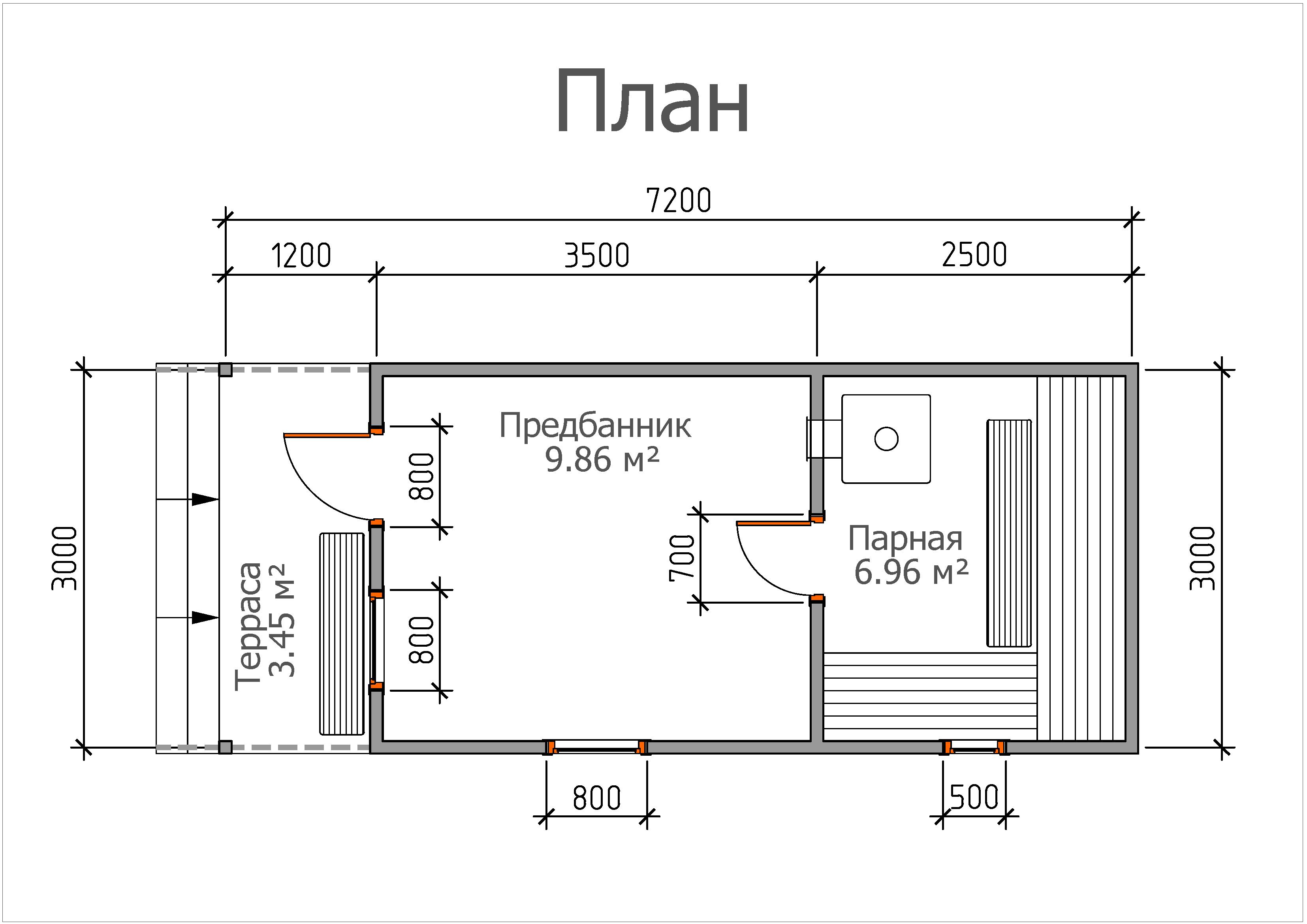 Мобильная баня «3х6 с крыльцом»