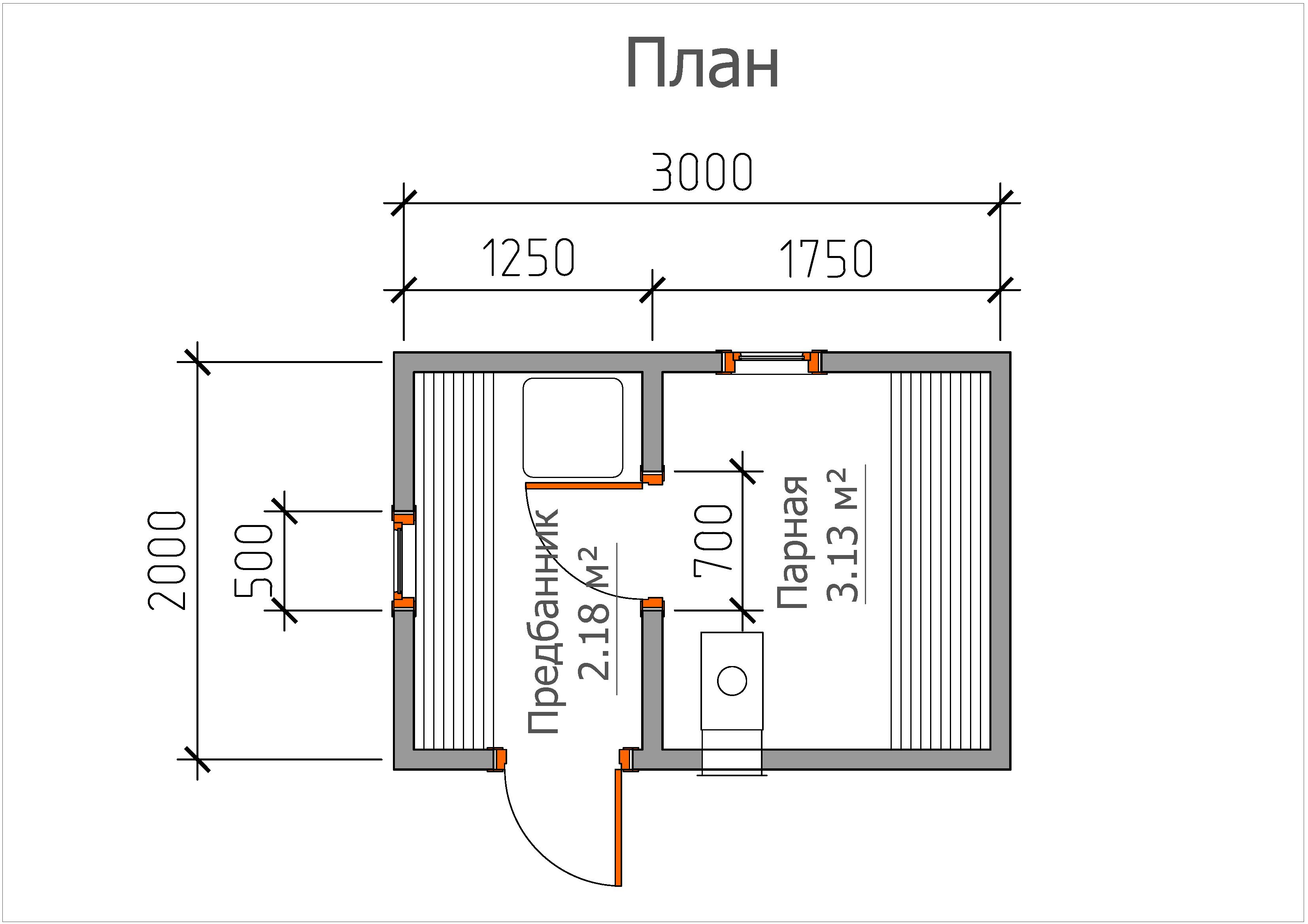 Мобильная баня «2х3»