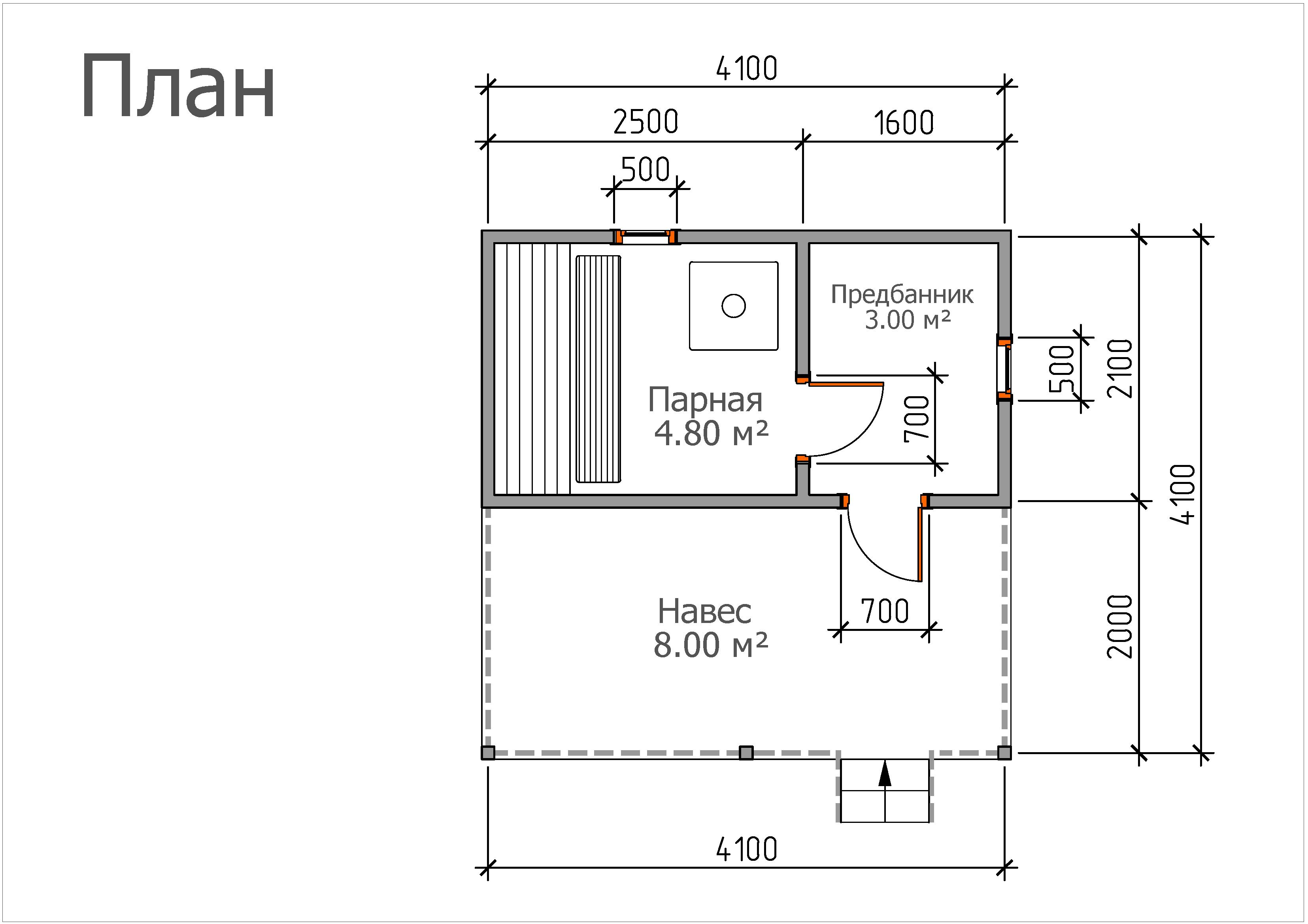 Мобильная баня «4х4 с террасой»