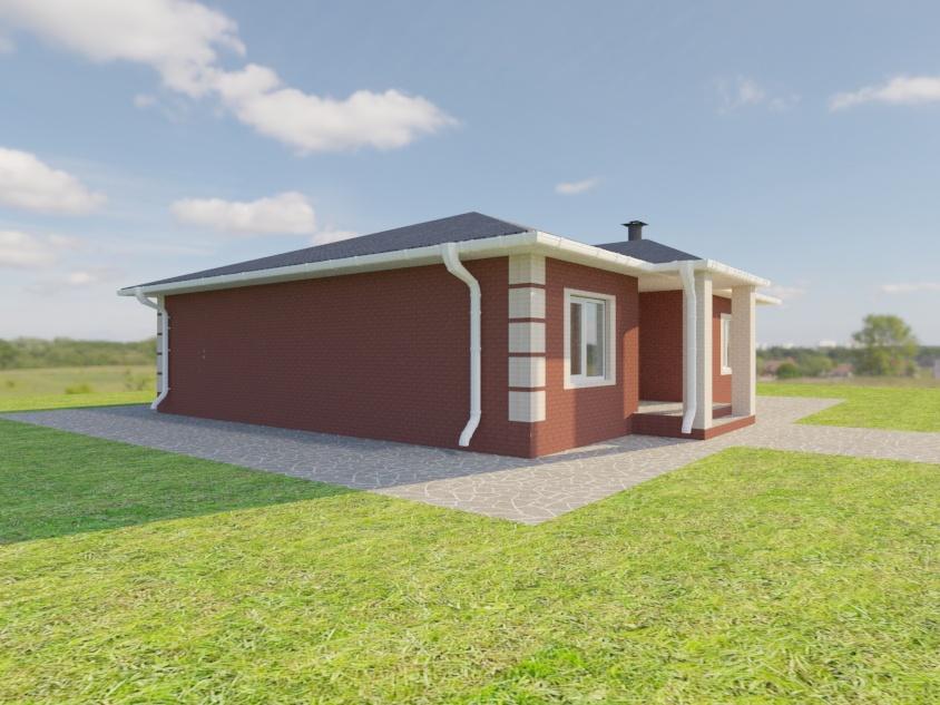 Одноэтажный дом из коричневого и белого кирпича
