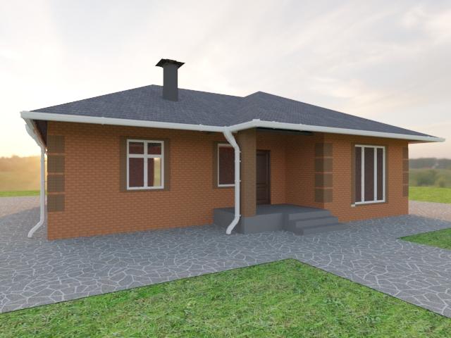 Одноэтажный дом из красного кирпича и красно-коричневого кирпича