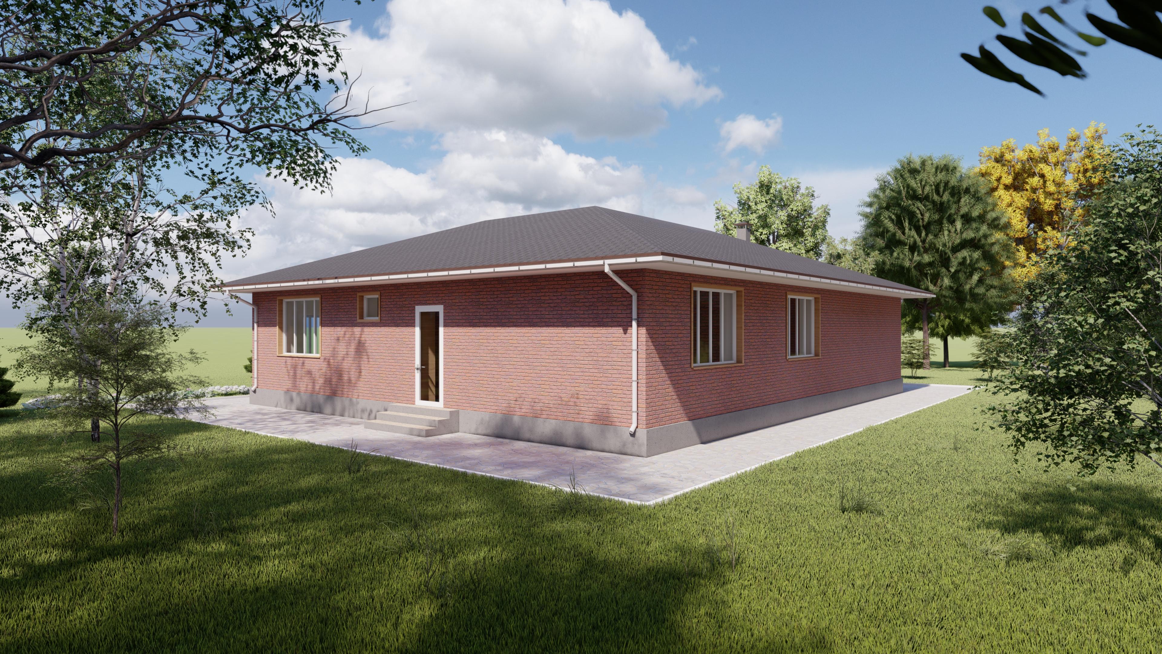 Одноэтажный дом из красного кирпича